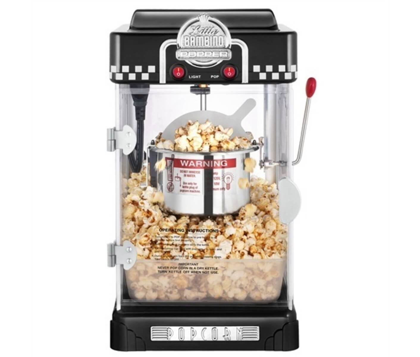 Test af Great Northern Popcorn Company Popcornmaskine Little Bambino Black